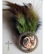 Steampunk watch brooch peridot - mechanism brooch - feathered brooch - s... - $13.50