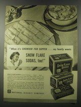 1941 Nabisco Snow Flake Sodas Crackers Ad - When it's chowder for supper - $14.99