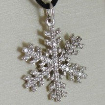 18K WHITE GOLD SNOWFLAKE PENDANT 25 MM, 0.98 INCHES, ZIRCONIA, MADE IN ITALY image 2