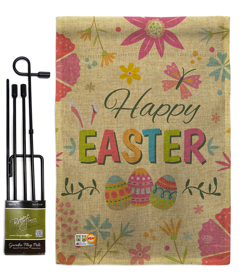 Primary image for Happy Easter Colourful Flowers Burlap - Impressions Decorative Metal Garden Pole