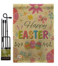 Happy Easter Colourful Flowers Burlap - Impressions Decorative Metal Garden Pole - $33.97