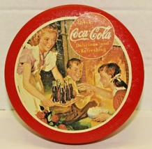 """Vintage 1992 Coca-Cola Red Round Small Lidded Fireplace Tin Container 5 1/2"""" - $9.90"""
