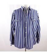 Haband Blue Striped Denim Long Sleeve Button Front Shirt Mens Sz XL - $24.18