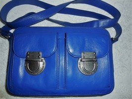 FOSSIL Monarch Blue Genuine Leather Double Pocket Crossbody Bag New with... - $55.00