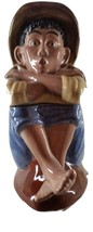 "COOKIE JAR:  COUNTRY BOY, BARE FOOT, 14""H, CERAMIC, BLACK AMERICAN - $65.00"