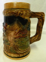 Vintage 3 Dimensional Mug Brown Men Drinking Bar Cabin Beer Stein Japan - $24.47