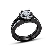 14k Black Gold Plated 925 Silver Round Cut White CZ Bridal Engagement Ring Set - $80.33
