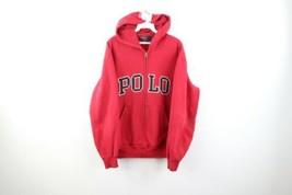 Vintage 90s Ralph Lauren Mens Medium Block Polo Spell Out Faded Zip Hoodie Red - $108.85