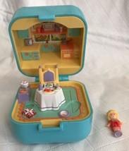 POLLY POCKET POLLY'S DINNERTIME RING CASE w/Original Doll VINTAGE 1991 BLUE - $33.65