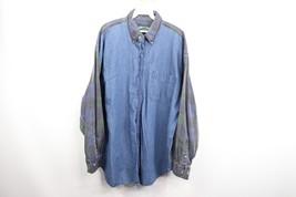 Vintage 90s American Eagle Mens XL Plaid Denim Long Sleeve Button Shirt ... - $657,02 MXN