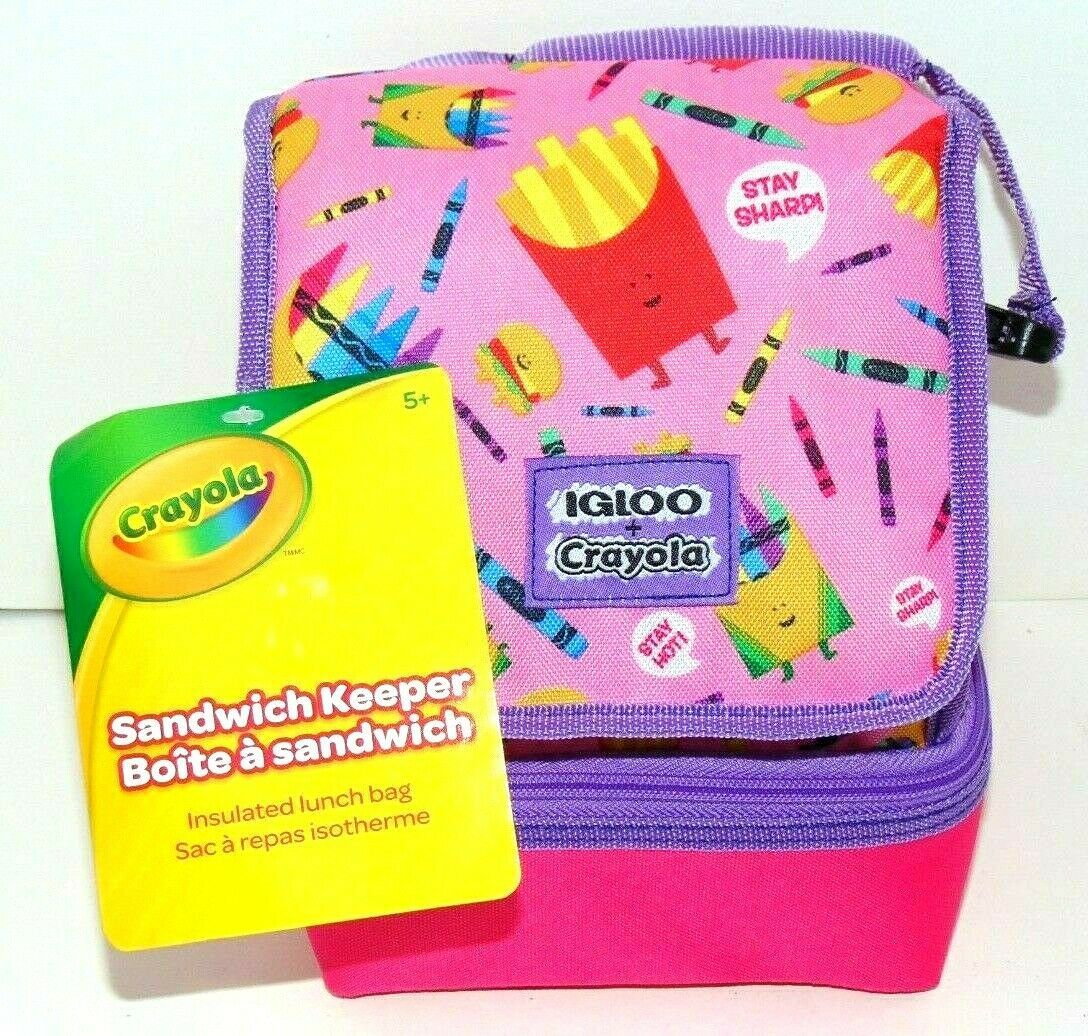 Primary image for Igloo Sandwich Keeper Bag Lunch Box Bag - Crayons French Fries/Burgers Crayola!