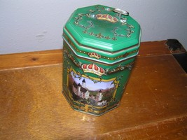 Estate Green with Germany Castles Metal Octagon Container with Music Box  - $8.59