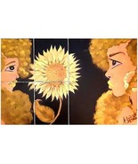 5-piece Canvas Painting, Two Girls and a Sunflower - $45.00