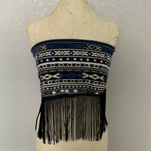 Beware Crop Top Blue Medium Strapless Tube Top Aztec Print Festival Wear - $12.20