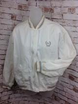 Vintage Izod Lacoste Womens Sz Large Vented Full Zip Bomber Jacket White w Logo - $34.36