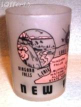 1960'S RETRO HAZEL ATLAS-- FROSTED SOUVENIR NEW YORK SHOT GLASS TUMBLER - $12.45