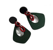 European Style Woody Individuality Earrings Asymmetric Earrings,Green image 2