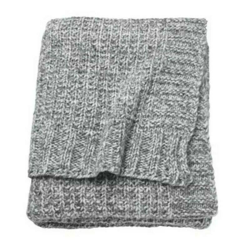 "Ikea DUNÄNG Throw 130 x 180 cm / 51"" x 71""  Soft Grey New 40% Wool Durango New - $58.15"