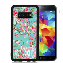 Monogram Case Fits Samsung Galaxy S10 S9 S8 S7 Teal Cherry Blossoms - $13.98