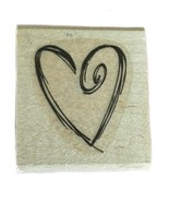 Rubber Wood Stamp Stamping Crafting Stampin Up Scribbled Heart Love - $9.89