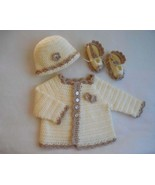 ivory baby sweater set, baby girl sweater and hat, 3 to 6 months baby gi... - $60.00