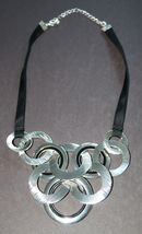 Jet Plain Bold Chunky Silver Ring Circle Fashion Jewelry Necklace Avon - $23.00