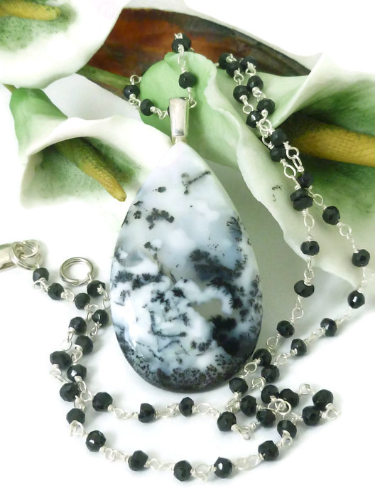 White Dendritic Opal Pendant Black Spinel Necklace
