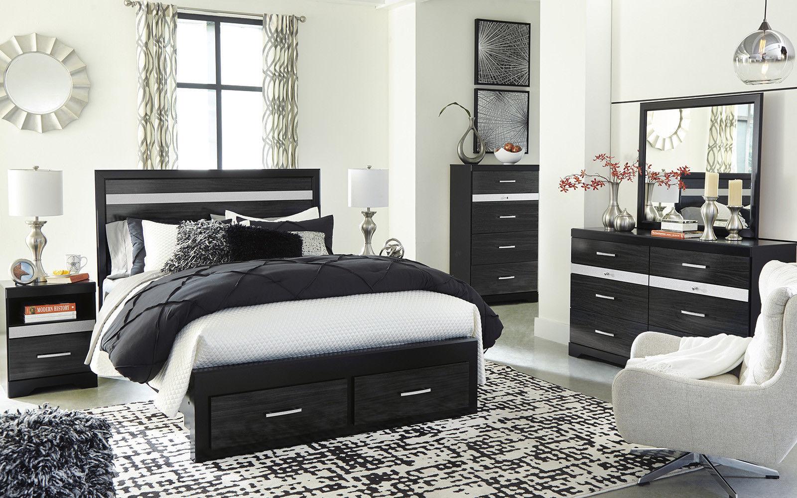 PRIMA 5 Pieces Modern Black Bedroom Suite W. Queen Size