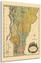 1814 Vermont Map - Vermont State Vintage Map - Vermont Wall Art - Old Vermont Ma - $34.99+
