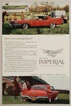 1960 Print Ad Chrysler Le Baron Four-Door Southampton Red Car Horses on Farm - $8.35