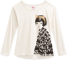 Epic Threads Girls' Long-Sleeve Headband Girl High-Low T-Shirt, Size XL - $9.49