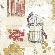 Victorian Birdcage Wallpaper Red, Yellow, Blue Norwall Wallcovering KE29945 - $40.58