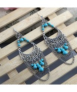 Bohemian Moon Dangle Drop Chain Hook Turquoise ... - $17.00