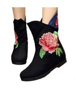 Peacock Vintage Beijing Cloth Shoes Embroidered Boots black 35 - $38.99