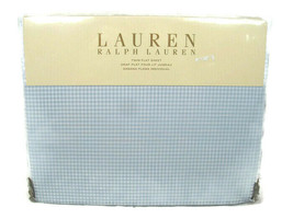 Ralph Lauren One Twin Flat Sheet Georgica Garden Sanabel Blue Gingham - $53.95