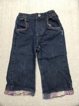 OshKosh Baby Girl Denim Embroidered Flower Blue Jeans Size 12 Months - $9.89