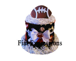 Football Sports Diaper Cupcake, Brown Diaper Cupcake, Diaper Cupcake Bab... - $18.00