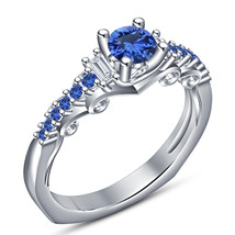 Blue Sapphire 10k White Gold Plated Pure Sterling Silver Engagement Wedd... - $74.99
