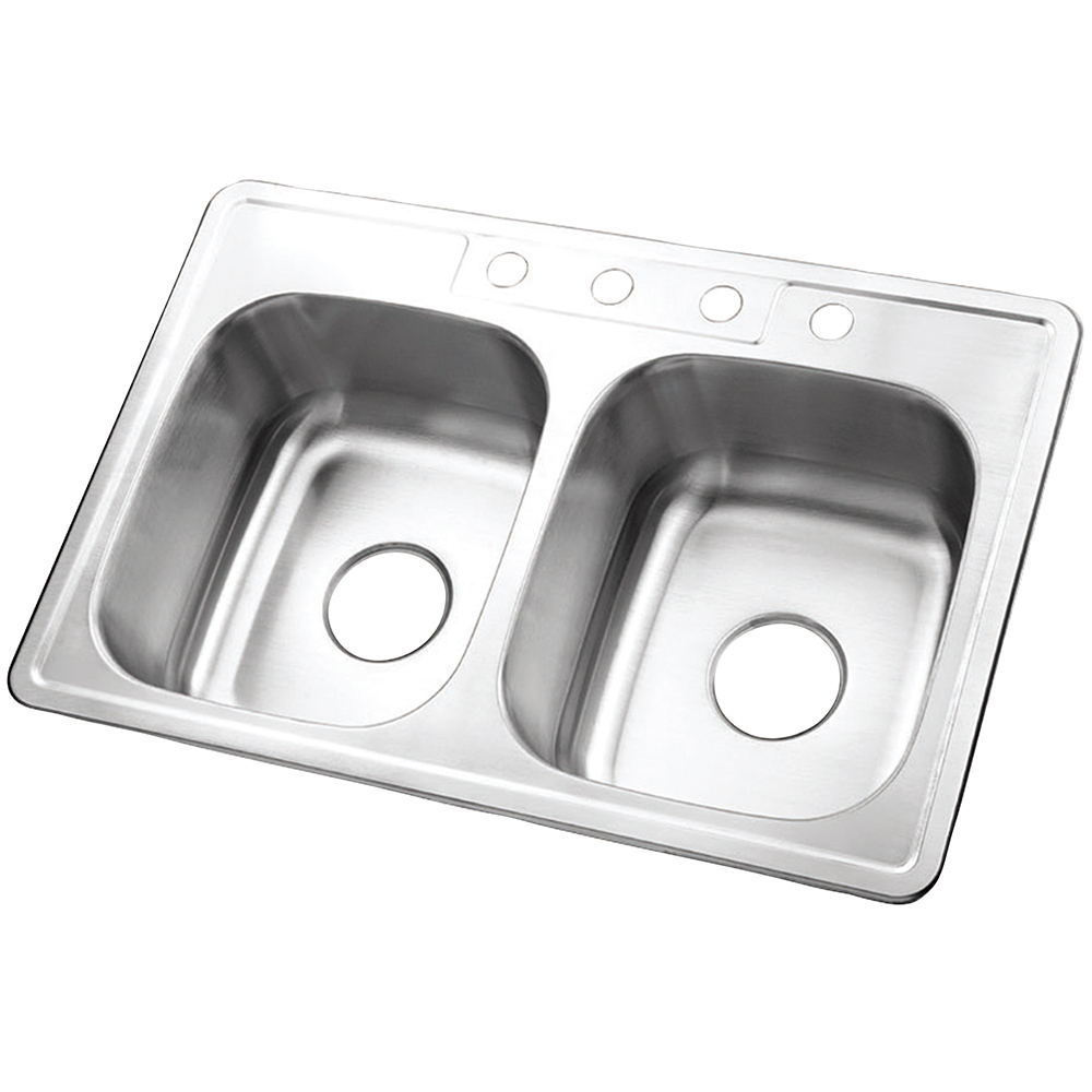 Gourmetier Studio GKTD33228 Self-Rimming Double Bowl Kitchen Sink, Satin Nickel - $117.31