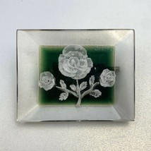 Vintage Reverse Carved Lucite White Rose Brooch Pin Green Background 1950s - $29.65