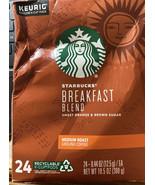 Starbucks Medium Roast K-Cup Coffee Pods — Breakfast Blend for Keurig Br... - $11.65