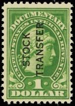 RD30, Mint VF NH $1 Stock Transfer Stamp Cat $50.00 -- Stuart Katz - $35.00