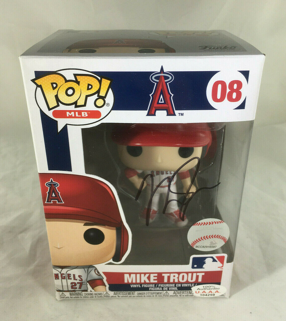 MIKE TROUT / AUTOGRAPHED L. A. ANGELS LOGO MLB FUNKO POP VINYL FIGURINE / COA