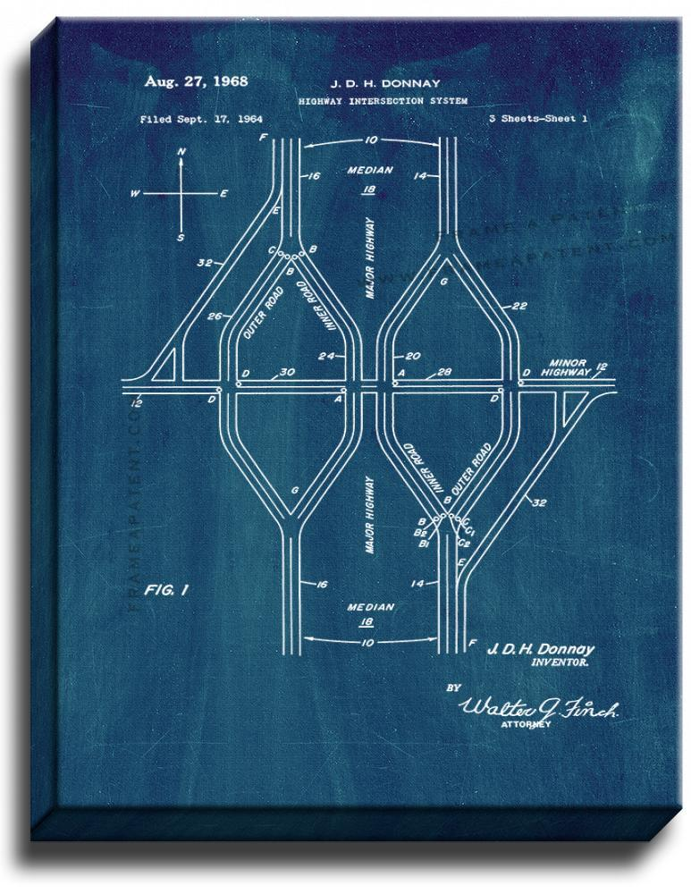 Primary image for Highway Intersection System Patent Print Midnight Blue on Canvas