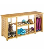 Bamboo Wooden Storage Shoe Bench Entryway Organizer Rack Mud Room Shoes ... - $113.75