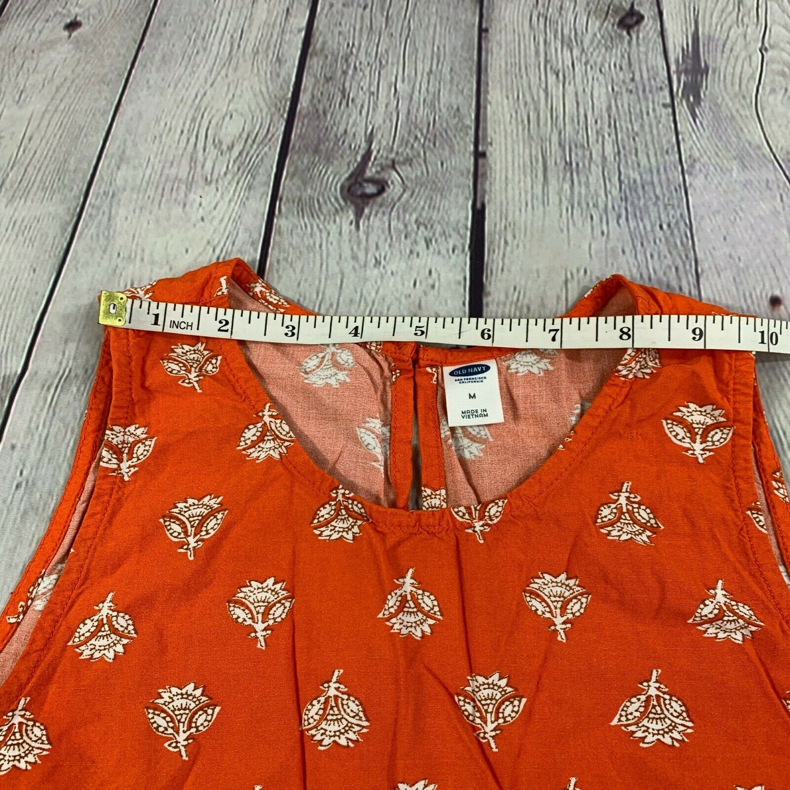 Old Navy Women's Orange Floral Print Short Dress Casual Sleeveless Size M