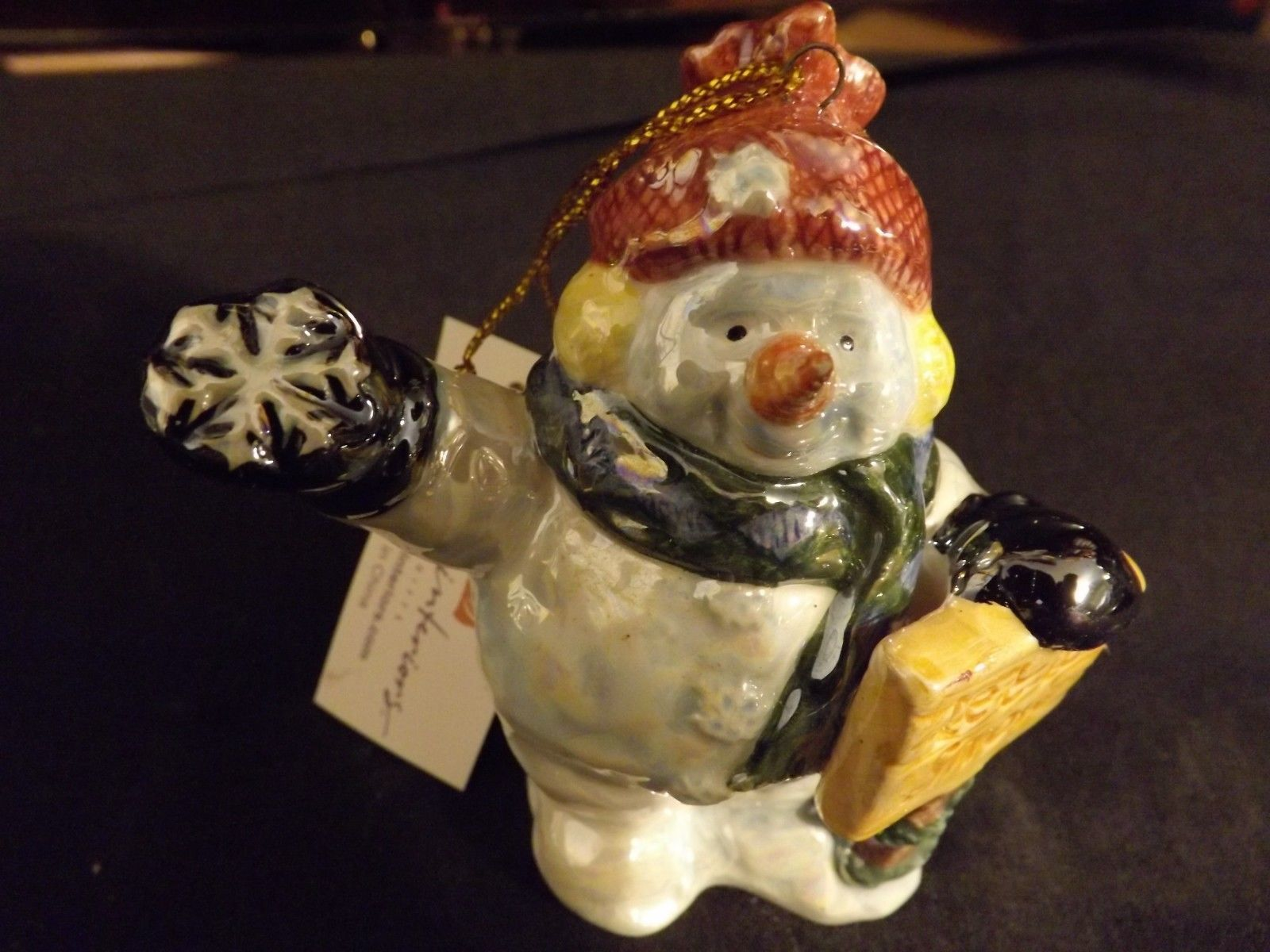 Home Interiors and Gifts box set ''Snow Man''. Hanging Christmas decoration