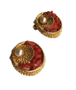 50s-60s Vtg Capri Signed Nautical Textured Coral Faux Pearl 3D Clip On E... - $64.00