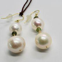 Boucles D'Oreilles en or Jaune 18k 750 Perles Eau Douce Tourmalines Vert image 6