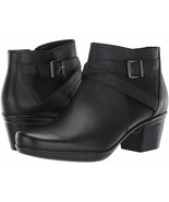 NEW CLARKS BLACK LEATHER BOOTS BOOTIES SIZE 8 M $130 - $64.99